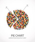 large group of people are standing in a round chart. Vector illustration on white background. Concept of analytics and statistics. The human graph.