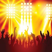 Rock concert, silhouettes of happy people raising up hands. Vector illustration