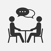 People at a table talking, icon isolated on white background. Vector illustration. Eps 10.