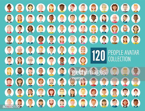 120 People Avatar Collection : stock vector