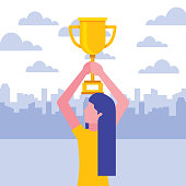 woman holding trophy success business vector illustration