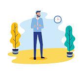 businessman folded amrs clock time business work vector illustration