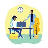 businessman and businesswoman working office desk laptop vector illustration
