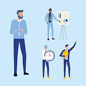 businessmen group team board presentation clock work vector illustration