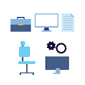 business work office set chair computer briefcase document vector illustration