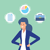 business woman chart briefcase and paper business work vector illustration