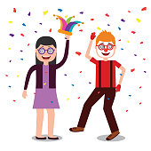 couple with silly glasses mask confetti celebration fools day  vector illustration