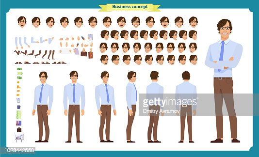 People character business set. Front, side, back view animated character.   Businessman character creation set with various views, face emotions, poses and gestures. : stock vector