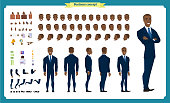 People character business set. Front, side, back view animated character. Black american Businessman character creation set.simple, face emotions, poses and gestures.Cartoon style,flat isolated vector