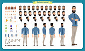 People character business set. Front, side, back view animated character.   Businessman character creation set with various views, face emotions, poses and gestures.Cartoon style, flat isolated vector