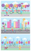people banners various activity scene city park vector illustration