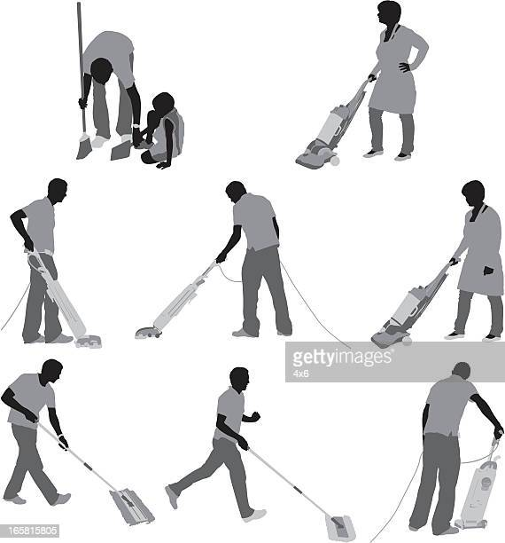 People cleaning the floor