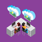 people working at desk with laptop cloud computing storage copy isometric vector illustration