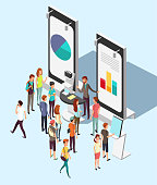 People crowd at exhibition trading promotion stand in exhibition. Market retail isometric vector concept. Exhibition promo isometric product illustration