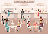 People eating in a food court in a shopping mall, character flat design vector illustration.