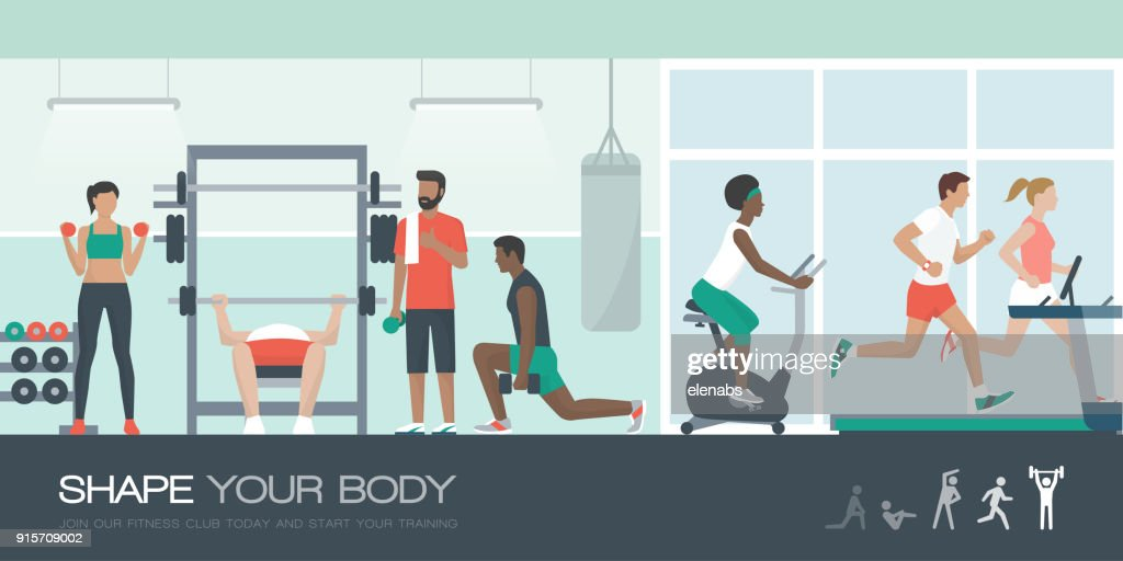Isometric gym room vector images