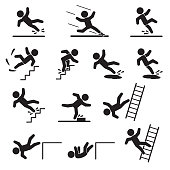 People falling or slipping icon set. Vector. eps10.