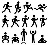 People figures in motion, running, walking, jumping vector black icons. Sportsman training motion, illustration of silhouette sportsman