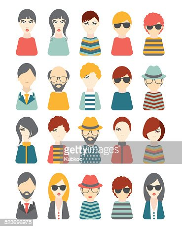 People Flat Heads Avatar Pictures Vector Art Getty Images
