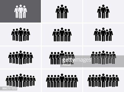 Icônes de groupe de personnes définies. Icônes de la foule. : Clipart vectoriel