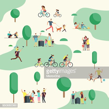 People groups on on bbq picnic. Happy families in various outdoor activity in summer park. Cartoon vector characters : Vector Art