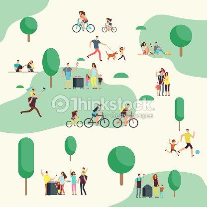 Grupos de personas en el picnic barbacoa. Familias felices en varias actividades al aire libre en el parque de verano. Personajes de dibujos animados vector : arte vectorial