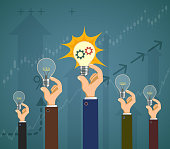 People hold light bulbs in their hands. Success in business. Vector illustration.