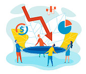 Risk Management Flat Cartoon Vector Illustration. People Holding Trampoline to Save Business. Group Male and Female Workers Rescuing Falling Graph Using Bouncy Castle. Money and Chart Icons.