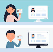 People Holding up ID Cards. Account Verification Flat Vector Illustration