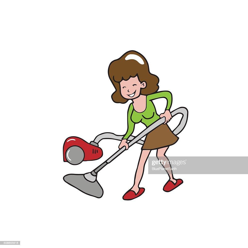 People house work woman vacuum : Vector Art