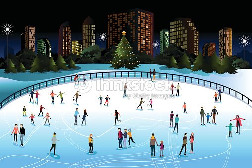 Personnes patinage sur glace en ext rieur clipart for Patinage exterieur