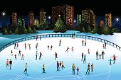 A vector illustration of people ice skating outdoor in the city