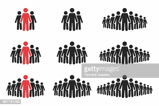 People icon set. Crowd of people in black and red colors. Group of people in pictogram shape : Vector Art