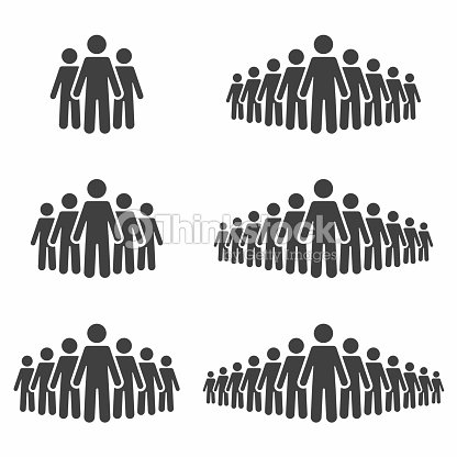 People icon set. Stick figures, crowd signs isolated on background : stock vector
