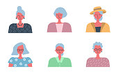 People icons. Six portraits of old women. Different hair styling and clothing. Vector illustration