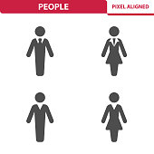 Professional, pixel aligned icons depicting various people concepts.