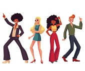 People in 1970s style clothes dancing disco, cartoon style vector illustration isolated on white background. Men and women in 60s, 70s style clothing dancing at retro disco party