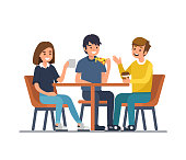 Friends sit in cafe, drink coffee and eat pizza. Flat style vector illustration isolated on white background.