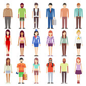 People in casual clothes flat icons set. People young male and female. Person set business and fashion people. Vector illustration
