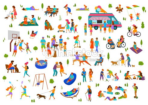 people in city park, parkland set.lazy and active man woman family friends groups relax, grill bbq, eat ice cream, dance walk ride bike scooter, at picnic, sit on benches, lying on grass : stock vector
