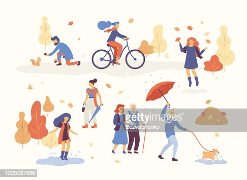 People in the autumn park having fun, walking the dog, riding bicycle, jumping on puddle, playing with autumn leaves, man with umbrella and bulldog. Set casual men and women in forest in fall vector : Vector Art