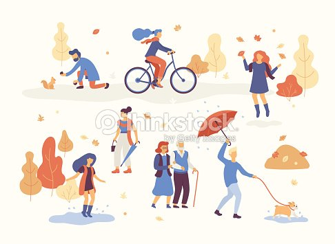 People in the autumn park having fun, walking the dog, riding bicycle, jumping on puddle, playing with autumn leaves, man with umbrella and bulldog. Set casual men and women in forest in fall vector : arte vetorial