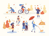 People in the autumn park having fun, walking the dog, riding bicycle, jumping on puddle, playing with autumn leaves, man with umbrella and bulldog. Set casual men and women in forest in fall vector.