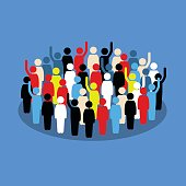 Vector artwork depicts society, differences, democracy, and public voting.