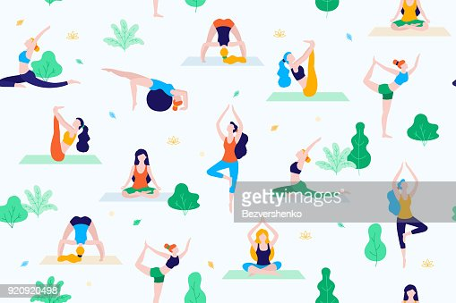 People in the park vector flat illustration. Women walk in the park and do sports, yoga and physical exercises. Park seamless pattern. : Vector Art
