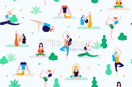 People in the park vector flat illustration. Women walk in the park and do sports, yoga and physical exercises. Park seamless pattern. : stock vector