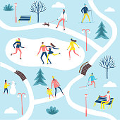 People resting and playing in the winter park. Different activities set. Including landscape. Cartoon map illustration for your design.
