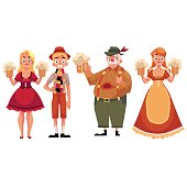 People in traditional German, Bavarian costume holding beer mugs, Oktoberfest, cartoon vector illustration isolated on white background. Full length portrait of German people in traditional costumes