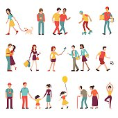 People in various lifestyles, businesspeople, woman walking to the dog, teenager, hipster, friends, sportman, woman doing yoga, homosexual, couple, lovers, family. Character set with flat design style