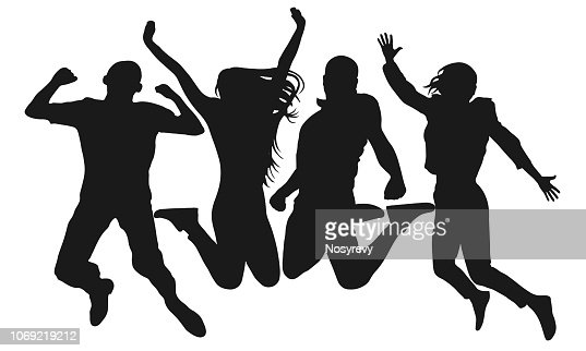 People jump vector silhouette. Cheerful man and woman isolated. Jumping friends colorful background : arte vetorial